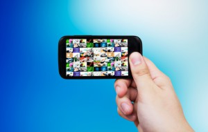Smart phone with multimedia gallery. Internet and TV streaming composition
